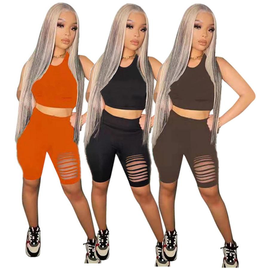 Women ripped Outfits casual Tracksuits sexy Two piece sets sleeveless t shirt+mini shorts summer clothing letter Sweatsuit Plus size 4843