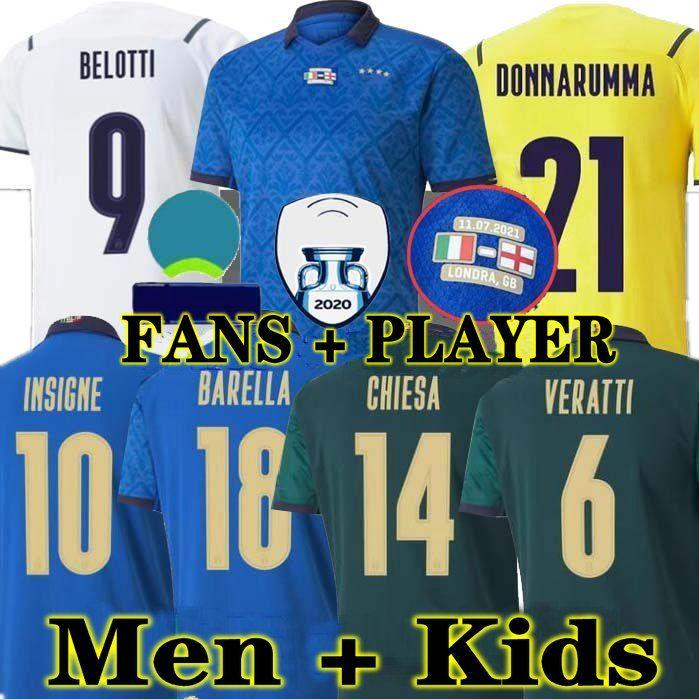 Chiellini المشجعين لاعب 2021 2022 إيطاليا Bonucci Soccer Jersey Italia Jorginho Insigne Verratti Men Kids Football Shirts Chiesa Barella Spinazzola Convers Donnarumma