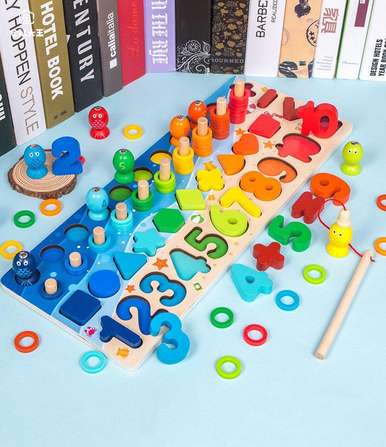 Montessori Oyuncaklar Bebek Numarası Blokları için Matematik Sayımı Ahşap Eğitici Oyuncak Şekil Sıralayıcısı Bulmaca Kurulu Yapboz Bebek Oyuncakları