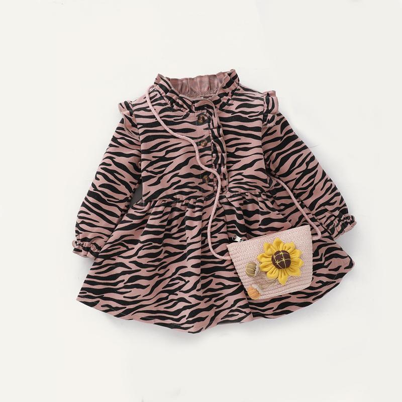 Vestidos de niña Keelorn Baby Girls Moda Primavera Vintage Zebra Imprimir Disfraces Partido Avanzado Algodón Niños Ruffles Princess Vestidos