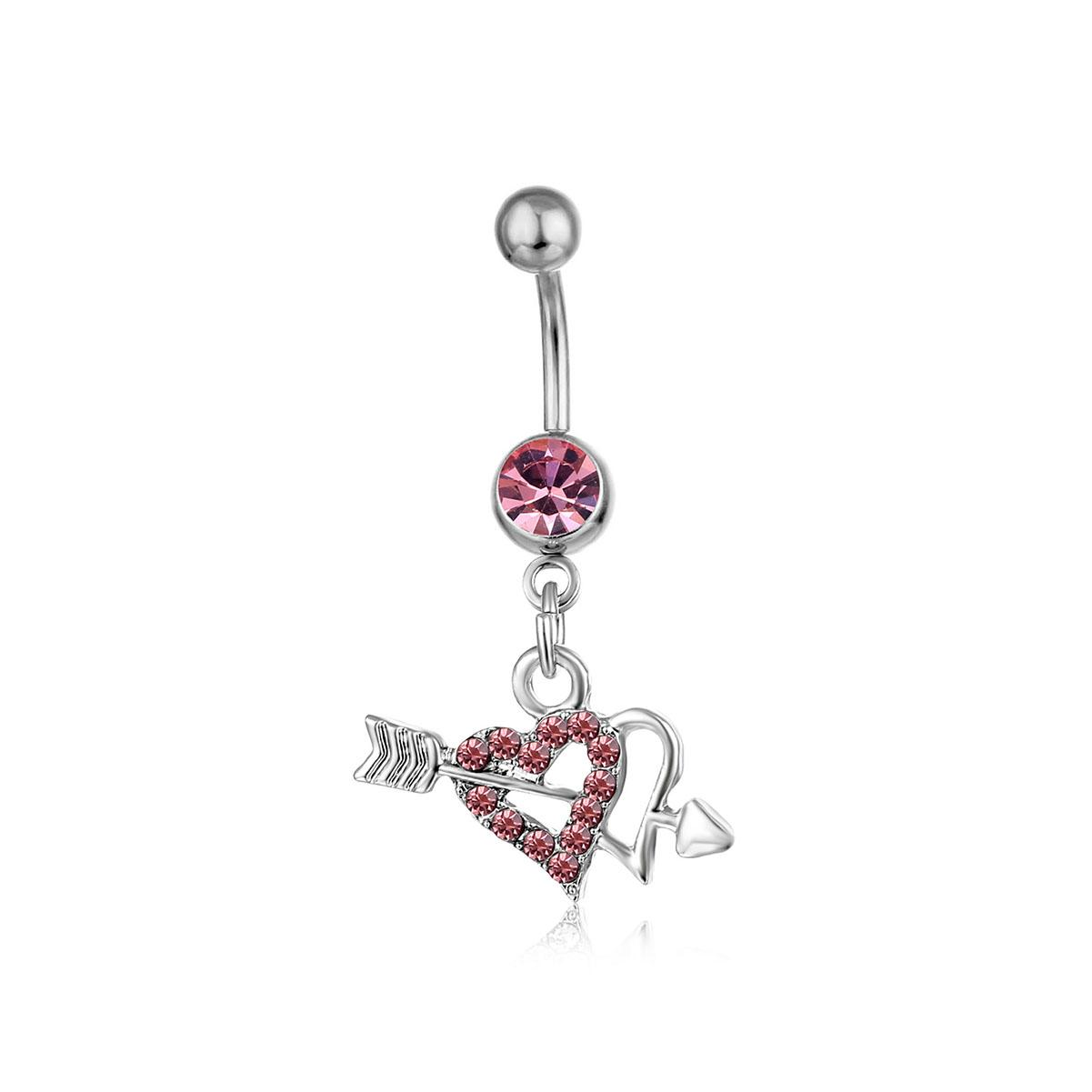D0361( 2 colors ) two hearts Belly Button Navel Rings Body Piercing Jewelry