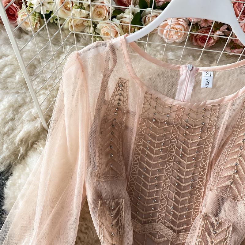 Casual Dresses Arrive Elegant See-through Party Dress Evening Women Mesh Spliced Hollow Out Rivet Long Big Swing Hem Gauzy Vestidos