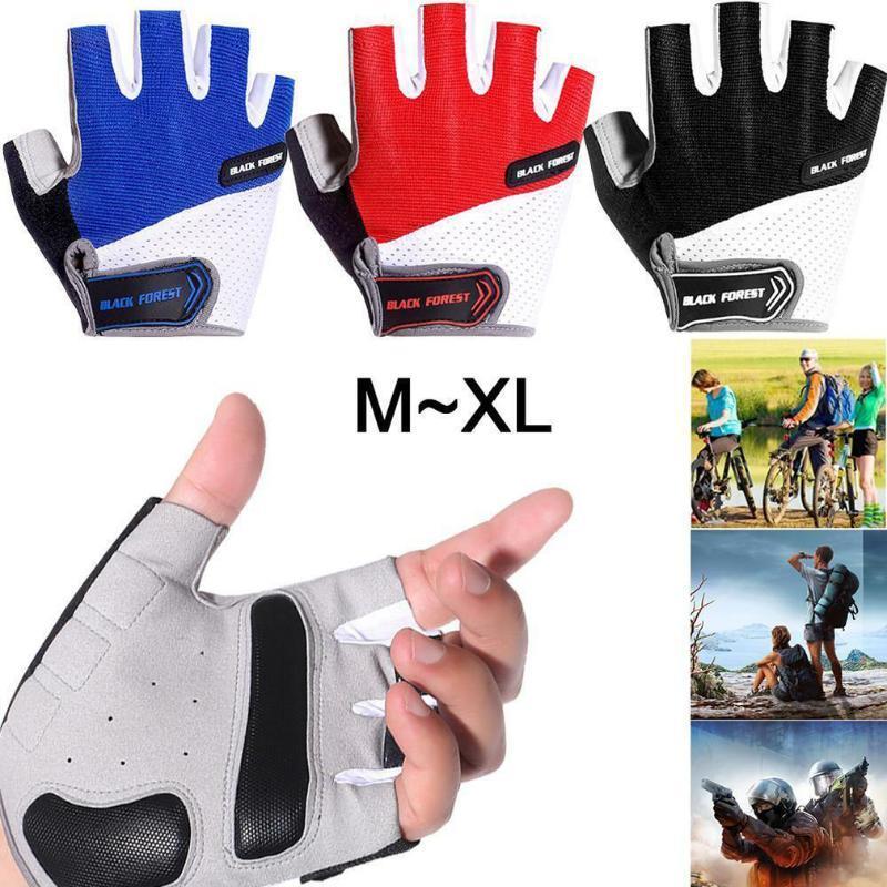 Men Cycling Gloves Working Anti Slip Half Finger Absorbing Padded Breathable Short Riding Biking Glove