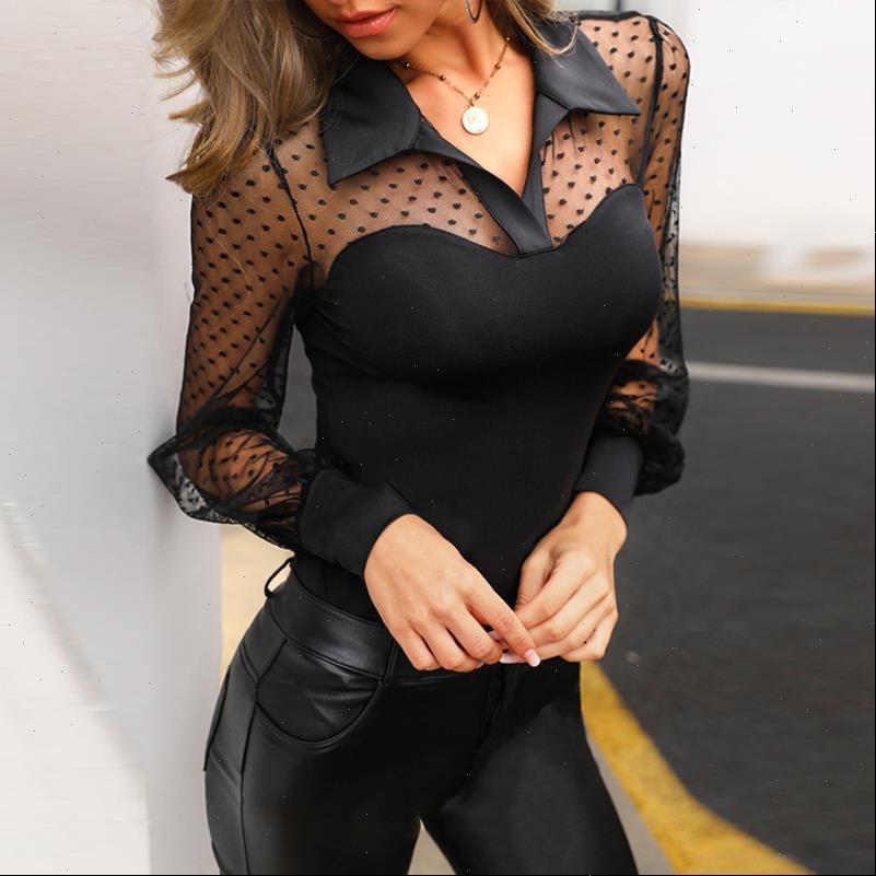 Sexy Fashion Mesh Patchwork Solid Womens Blouses Casual See through Long Sleeve Shirt Ladies Slim Night Club Harajuku Blouse SJ4333M