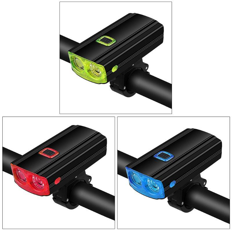 Bike Lights Mountian Front Light With Horn Rainproof USB Rechargeable Bicycle Cycling Headlight MTB
