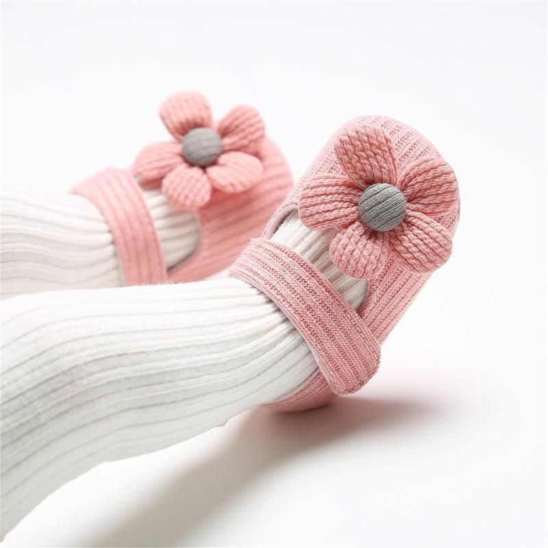 Primeiros caminhantes infantil criança bebê meninas malha padrão único sapatos pré-palhaker bowknot flor princesa sapatos + headband conjunto sandálias40