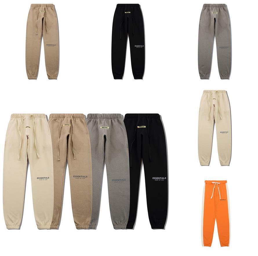 Diseñador miedo a dios pantalones jogger pantalones esenciales joggers hombres sweetpant jogging casual pantalón naranja raya niebla botones hombres pantalones