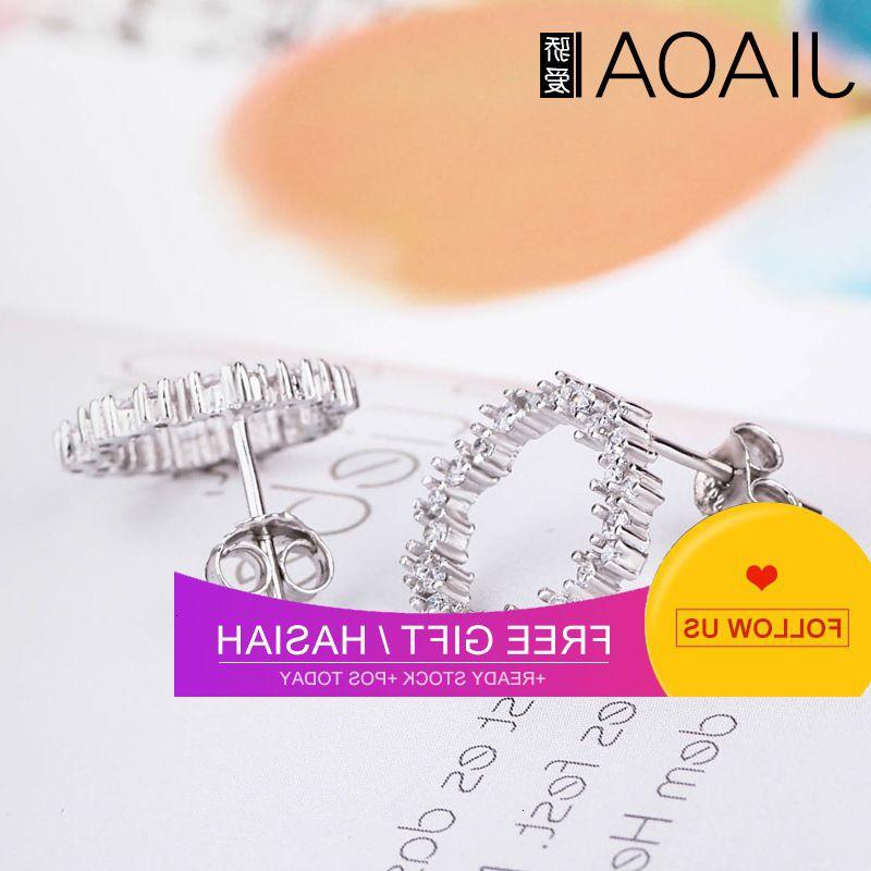 Nuovo zircone di moda semplice coreano con diamante S925 argento argento orecchini