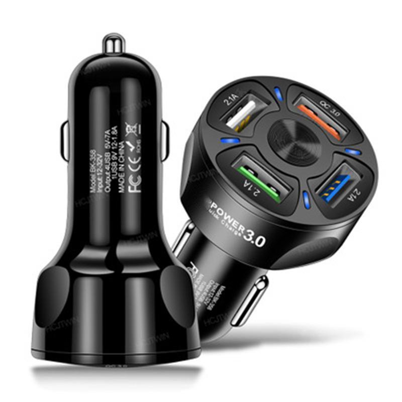 4 Chargeurs de voiture USB QC 3.0 Charge rapide Charge rapide de la voiture 4 Port Adaptateur de chargeur de téléphone portable pour Samsung Xiaomi LG