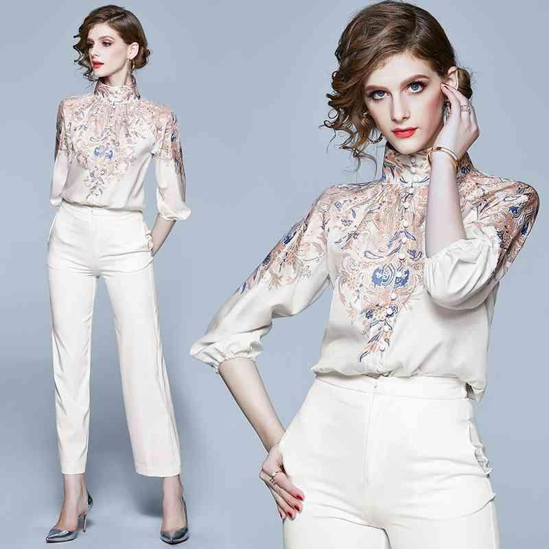 Fashion Designer Delle Donne TurtrleNeck Broushe Single-Breasted Camicie Camice runway Fiore di lusso Stampato Chiffon Chiffon Shirt Shirt Shirt Top 210305
