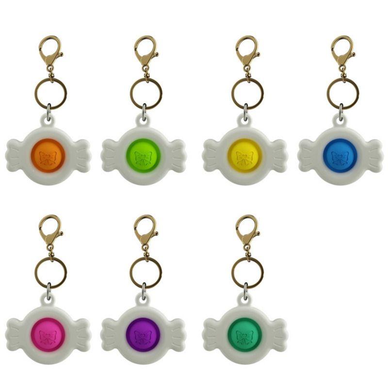 7 Colors Fidget Sensory Push Pop Toys Finger Bubble Music Decompression Keychain Pendants Stress Relief Simple Toy H312V5J
