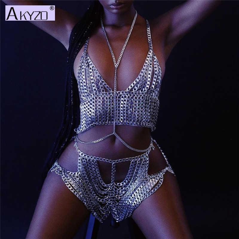 Women Metallic Tassel Chain Tank Top and Shorts Sexy Body Harness Deep V Backless Festival Rave Clothes Two Piece Sets Outfits Q0527