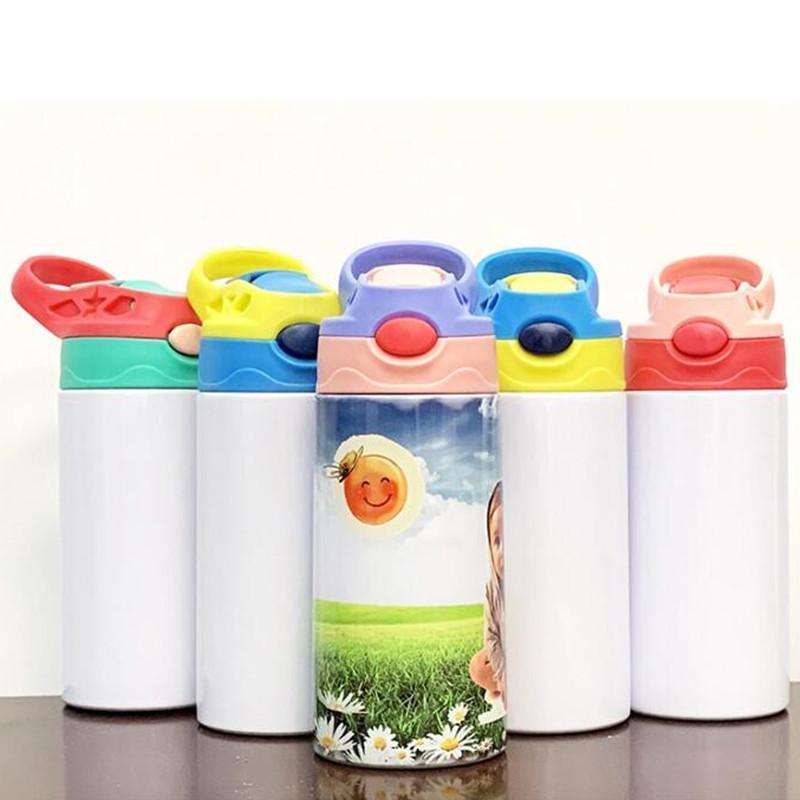5 ألوان 12 أوقية التسامي الأطفال مستقيم سيبي كأس أكواب الفولاذ الصلب معزول الاطفال زجاجة المياه المنزلية السفر المحمولة القدح فليب أعلى زجاجات