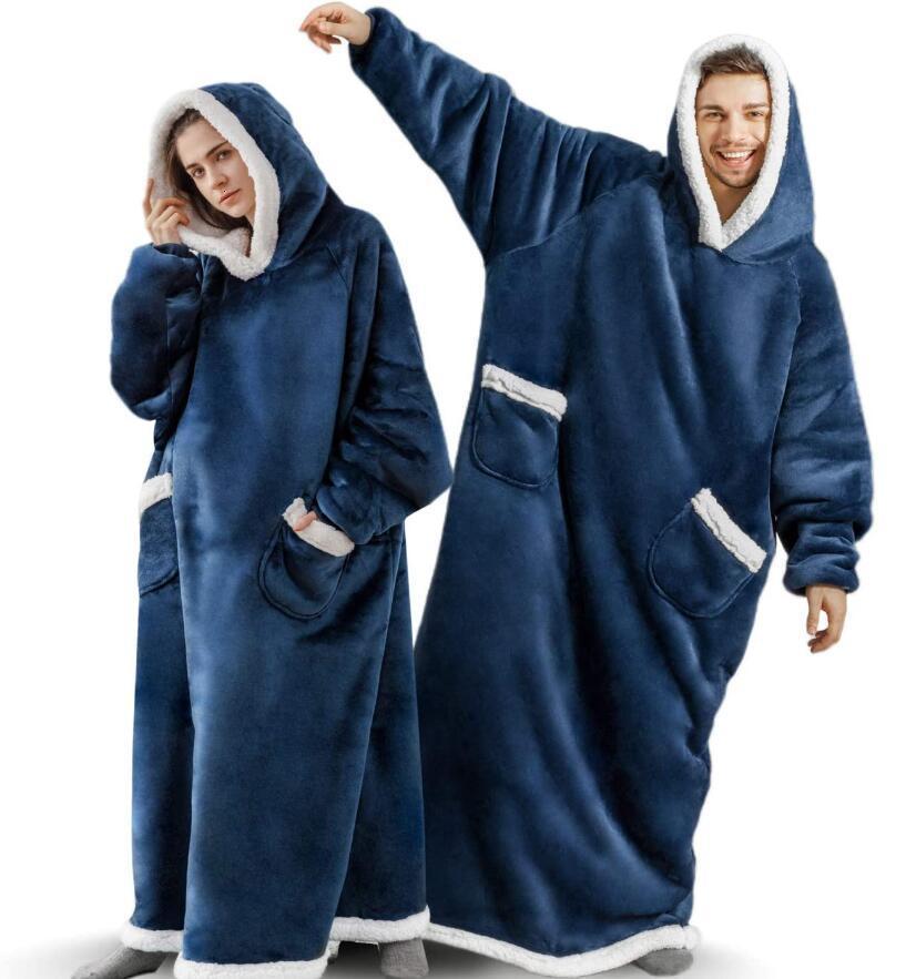 Super longue couverture de flanelle avec manches hiver Sweatshirt Sweateshirt Femmes Hommes Pull en polaire TV géant surdimensionné WF032