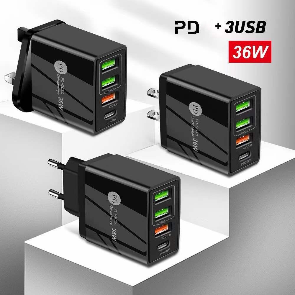 36W 빠른 충전 QC3.0 PD 유형 C 4 포트 EU US UK AC 홈 여행 벽 충전기 어댑터 용 아이폰 삼성