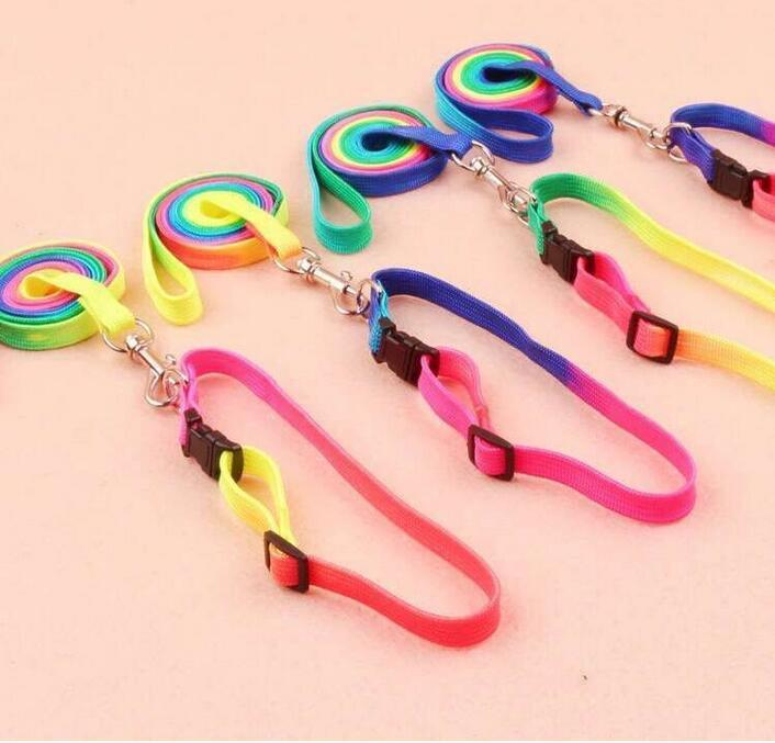 Colorful Rainbow Pet Dog Collars Harness Leash Soft Walking Lead Durable Traction Rope Nylon 120cm RH3452
