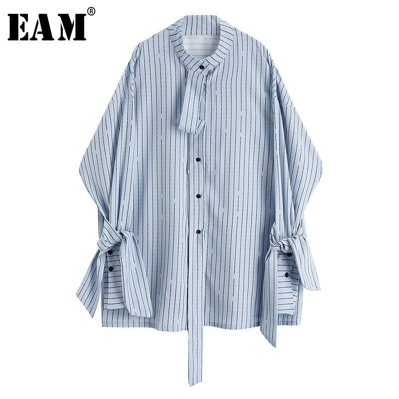 [EAM] Frauen blau gestreiftes Band Große Größe Bluse Stehkragen Langarm Lose Fit Hemd Mode Frühling Herbst 2021 1Y891 Damen Blusen