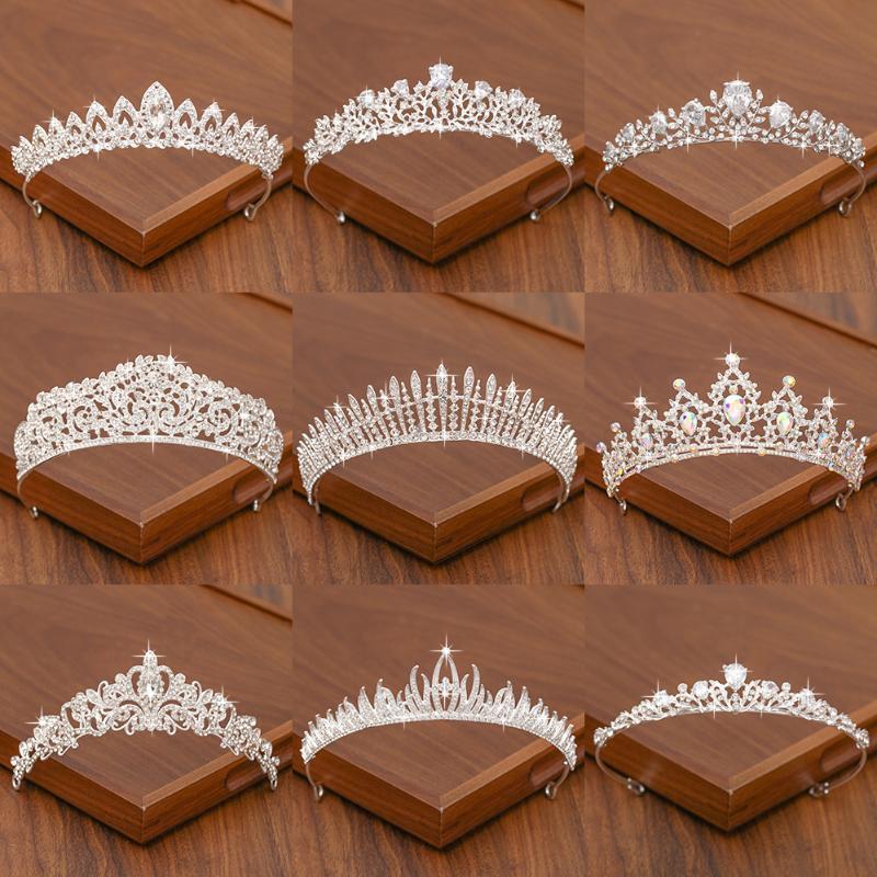 مقاطع الشعر المشابك الزفاف تيارا تاج اكسسوارات الزفاف للنساء لون الفضة اللون و