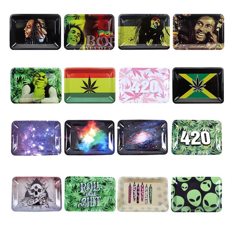 Multi Patterns Cassetto di rotazione del metallo Dimensione piccola taglia 18 cm X12.5cm Accessori da fumo Accessori per erbe Arrotoli Roll Consegna veloce