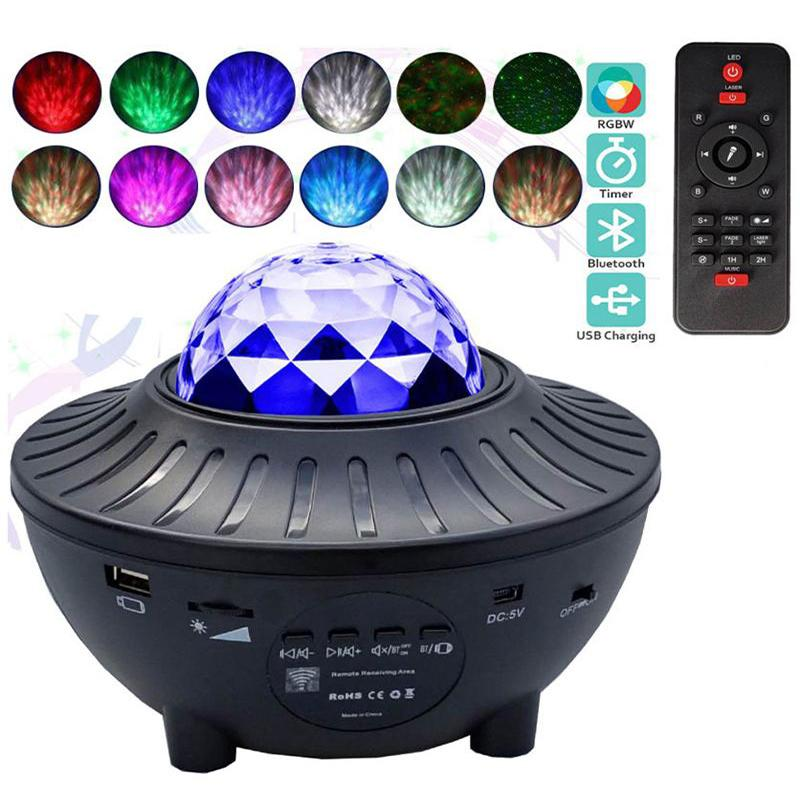 USB LED Star Night Light Efeitos Música Starry Water Wave Projetor Bluetooth Activado em Som Estágio Luzes Iluminação