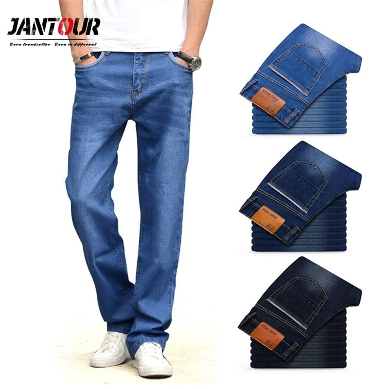 Brand Jeans Men High quality Winter Thick Loose Straight Denim Pants mens Trousers Business Cowboys Stretch Big size 40 42 44 210331