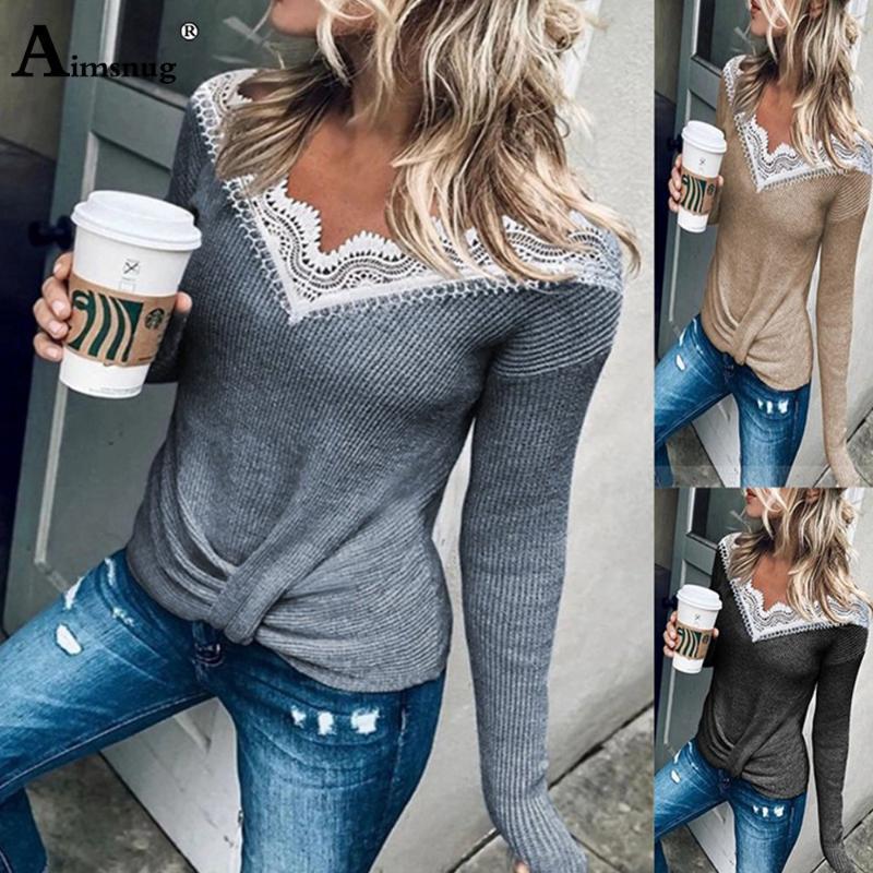Frauenpullover spitzen spleißte pullover frauen herbst 2021 freizeit lässig langarm v-ausschnitt pullover gestrickt femme winter warme kleidung