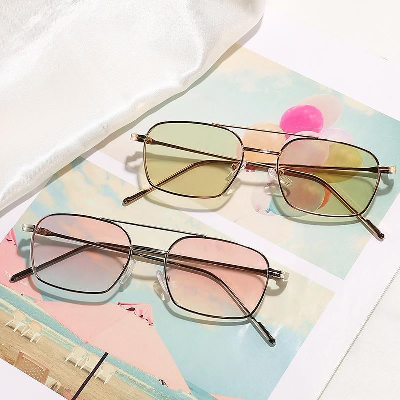 Солнцезащитные очки Металлическая рама Большая Личная Личность Двойной Луч Безрамные Взрослые Контрактные Моды