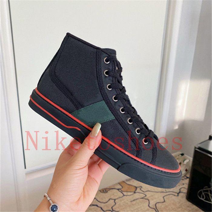 """التنس 1977 عالية الأعلى حذاء إيطاليا البيج / الأبنوس قماش أحذية الأخضر والأحمر قطاع المصممين إمرأة عارضة أحذية رياضية """"77"""" التطريز المطاط الوحيد luxurys رجل الترفيه الحذاء"""