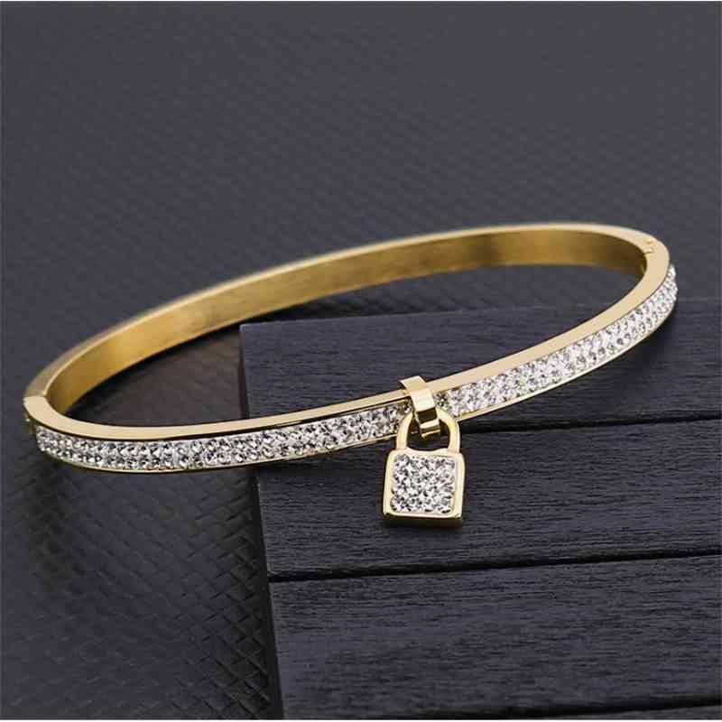 Brand Lock Armband Hohe Qualität 5A Zirkon Goldmaterial Europäische und amerikanische Armband Mode Frauen Armband 201226