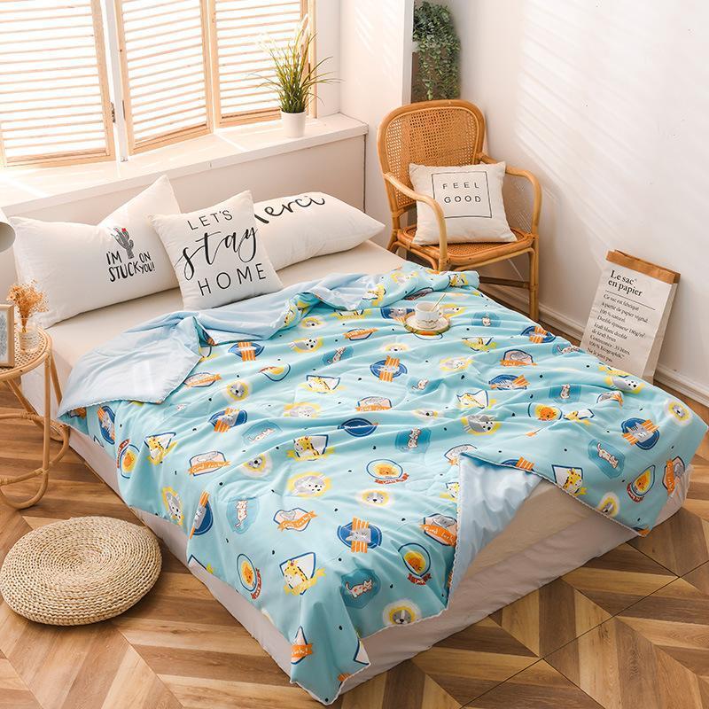 Bettdecken Sets Cartoon Klimatisierte dünne Quilts gewaschene Baumwolle Einfache Sommer cool gesteppte Bettdecke Geeignet für Kinder Decke Quilt
