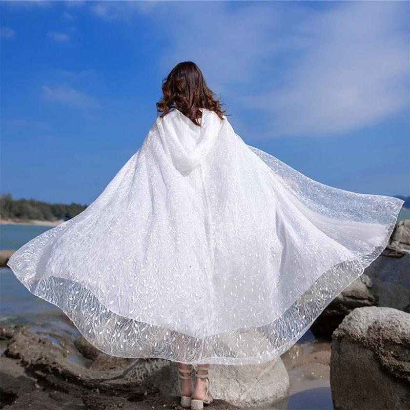 Bonito Branco Xale Capa Com Capuz Frias Proteo Solar Roupas Solto Rendas Longo Hırka Bordado Dış Giyim Feminino Y1391