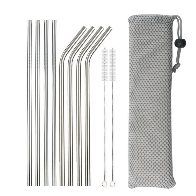 Drinking Straws Reusable Metal 304 Stainless Steel Sturdy Bent Straight Straw With Cleaning Brush Bar Party Accessory