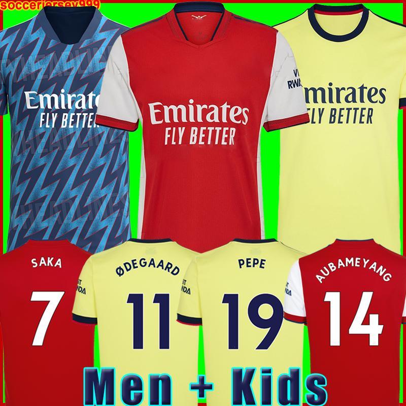 Arsen futbol forması Gunners Hayranlar Oyuncu sürümü 21 22 PEPE SAKA THOMAS WILLIAN NICOLAS CEBALLOS GUENDOUZI TIERNEY 2021 2022 futbol forması Erkekler + Çocuk kiti Üniformalar