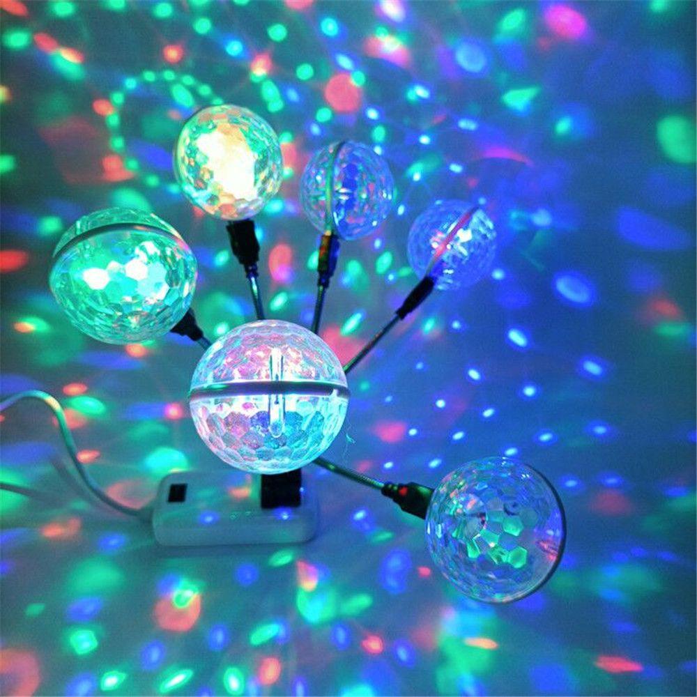 Effets mini USB RVB LED voiture DJ Stage Double balle Magie, contrôle du son éclairage Stagelight Party Lights Disco Ball