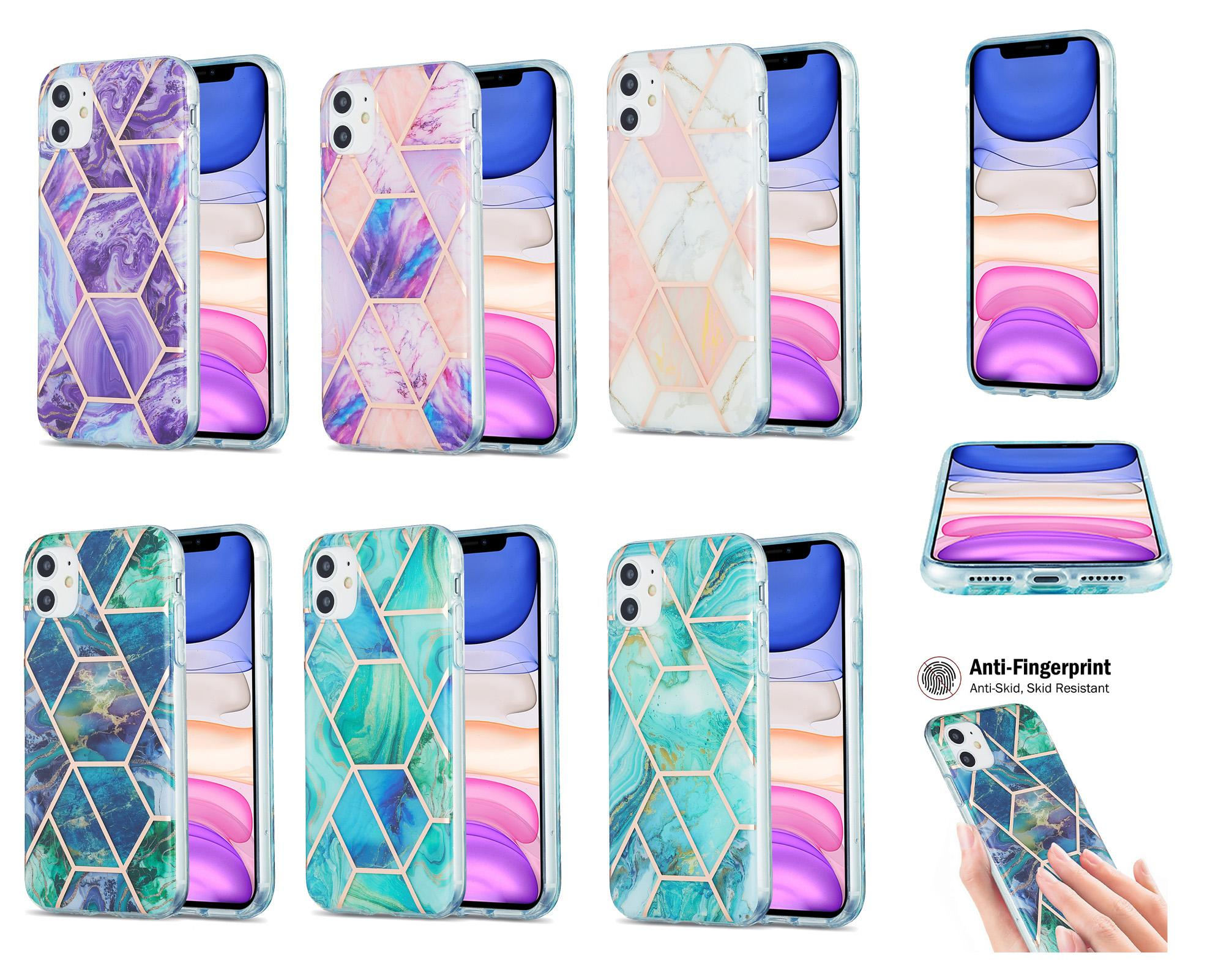 Caso de telefone geométrico galvanoplado para iphone 7 8 7 mais 8 mais x xr xs max 11 pro max 12 pro max mármore tampa macia tampa coque