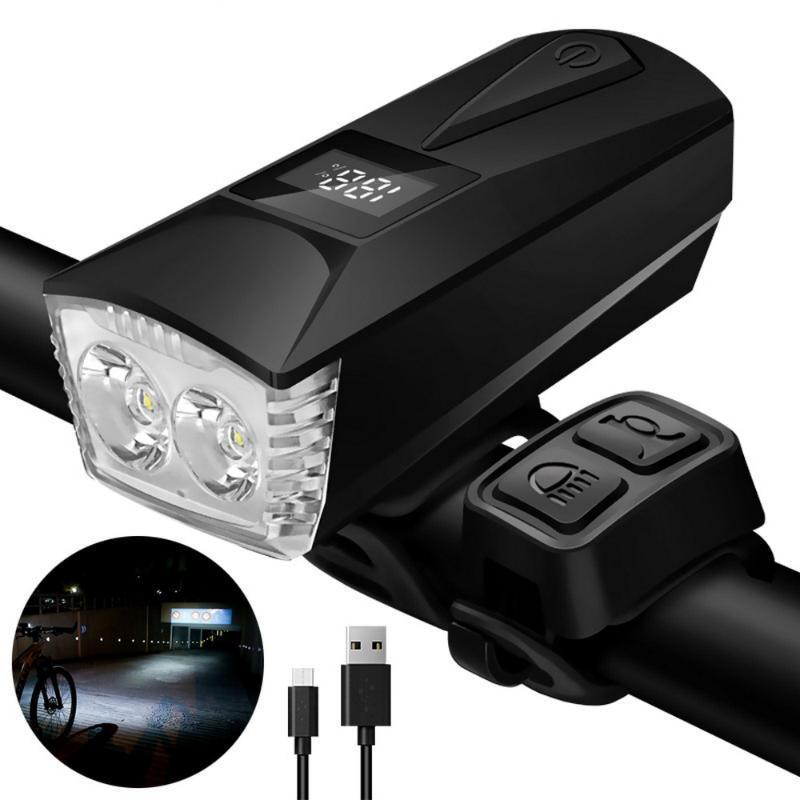 أضواء الدراجة دراجة ضوء الجبهة usb قابلة للشحن 4 أكثر من الدراجات عرض الرقمية T6 الصمام العلوي الطريق الجبلية القرن مصباح