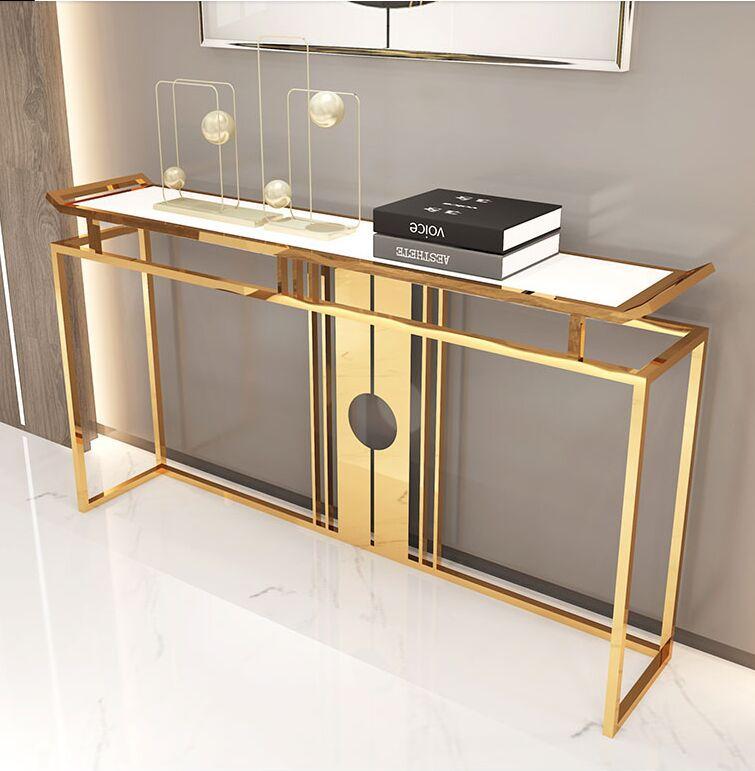Mobiliário de sala de estar Chinês-estilo de luxo de aço inoxidável de aço inoxidável tabela clube hotel vista lateralmente console gabinete