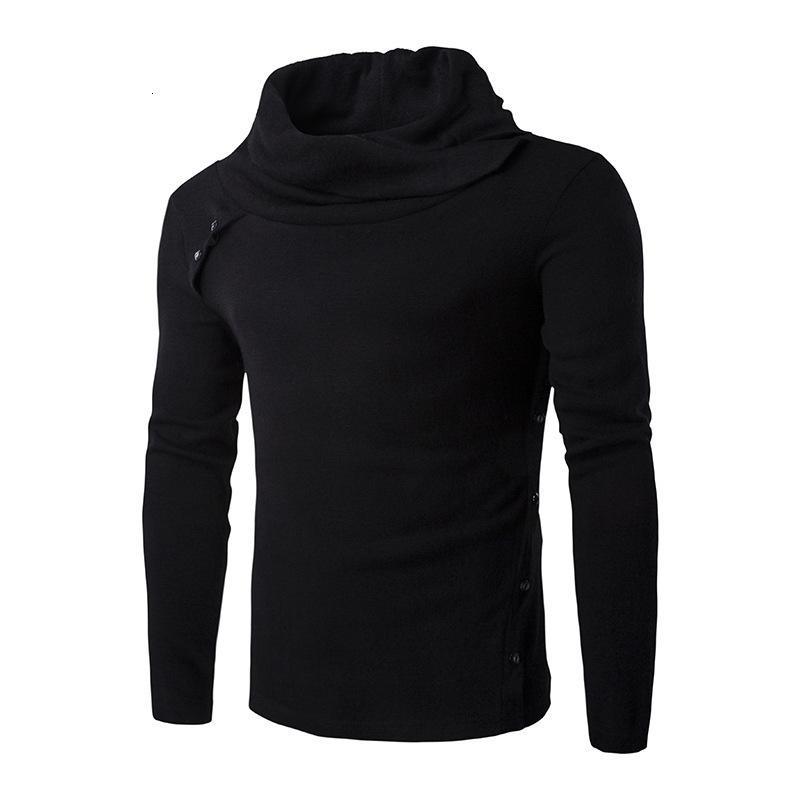 Collar Wholesale-New Warm Slim fit Turtleneck Knit Heaps Pullover Mens Sweater Men Black Grey cotton sweaters coat CXN0