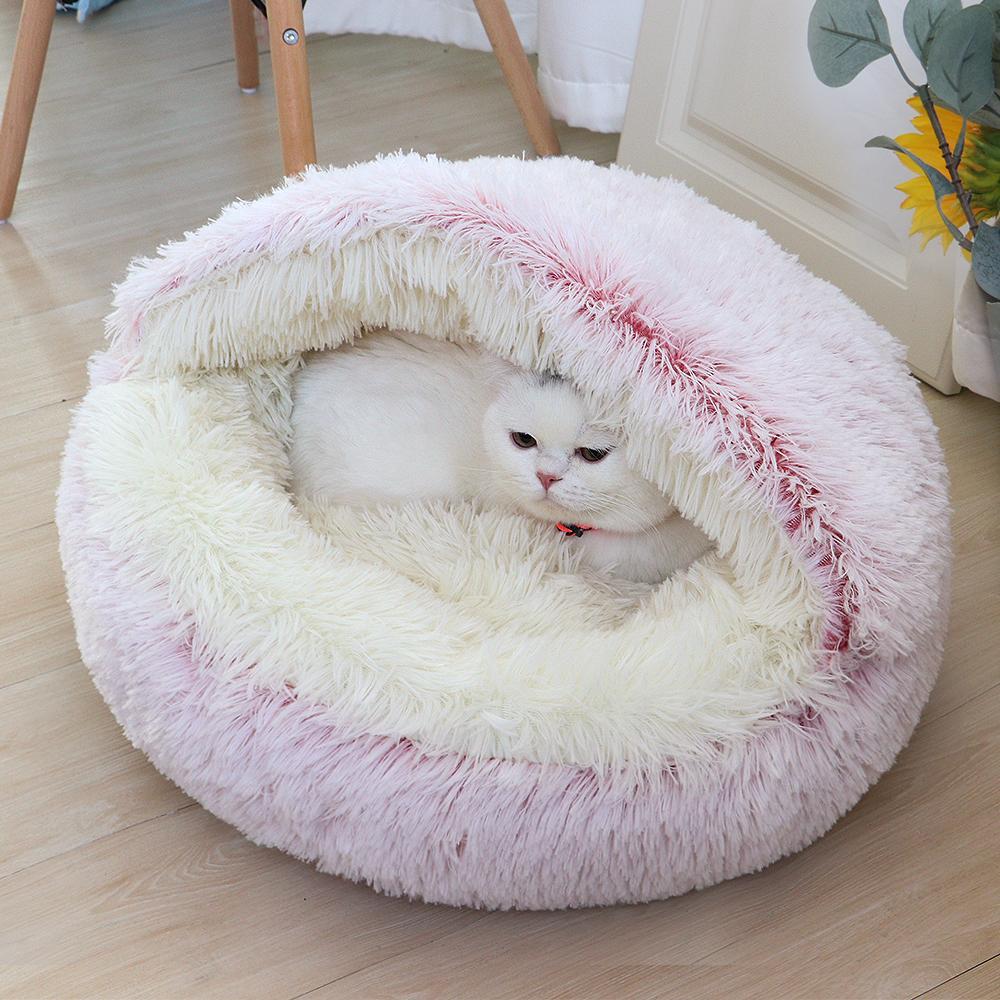 Yuvarlak Yavru Köpek Yatak Kanepe Yumuşak Sıcak Pet Kedi Uyku Yatakları Ev Uzun Peluş Yavru Yuva Kennel Küçük Köpekler Için Kennel Anti Kayma