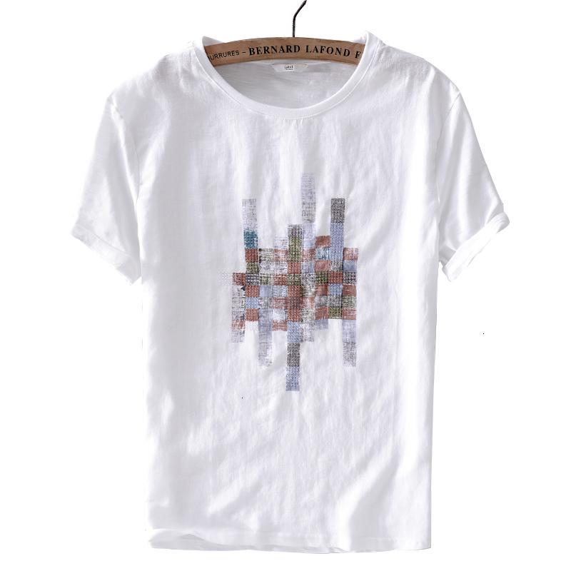 Erkek T-Shirt Marka Keten Ve Pamuk Dikiş Beyaz T Gömlek Katı Rahat O-Boyun T-shirt Erkek Moda Tshirt Erkekler Chemise Camiseta MRY6 Tops
