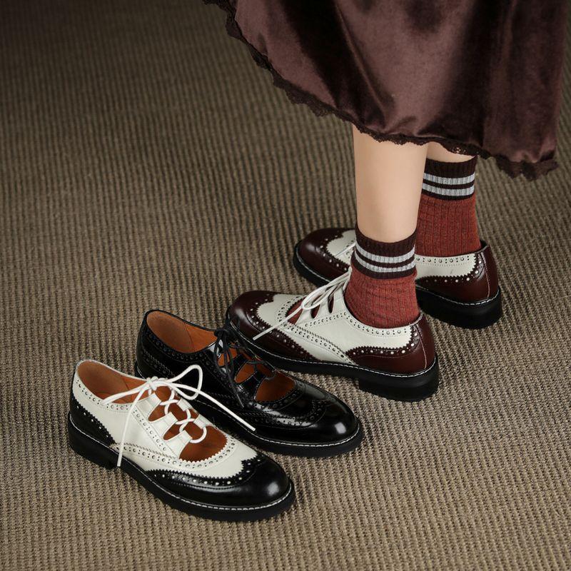أفضل jik008 جلد النساء أكسفورد أحذية جولة تو أسود أبيض سيدة الدانتيل يصل حتى المتحمسين الأحذية عارضة للنساء الأحذية الجلدية 2021