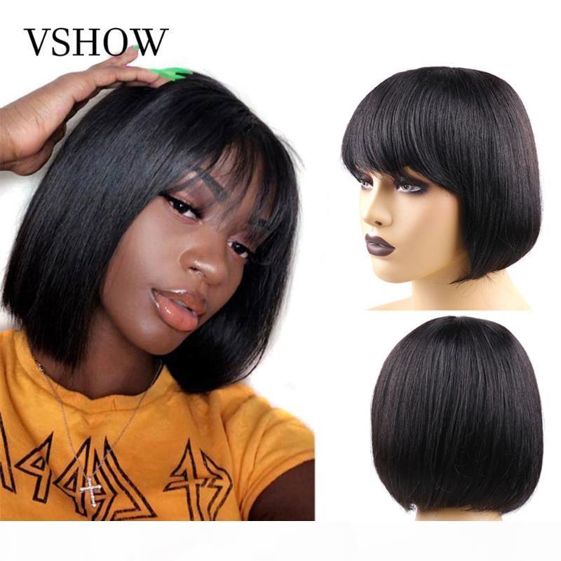 Vshow Strafe Short Bob Wig13x4 Bob Perruques Prefling Baby Cheveux pour femmes Brésilien Remy Full Machine Fabriqué Wigshuman Cheveux Perruques