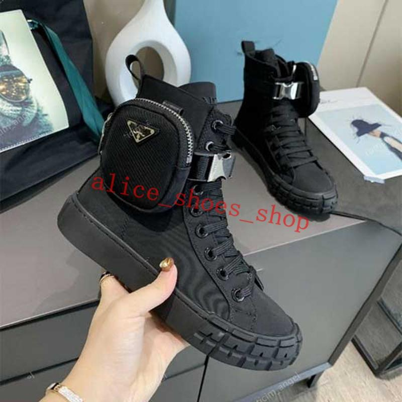 Prada boots 어린이 신발 2021 남성 패션 품질 가죽 숙녀 포켓 캔버스 레이스 업 두꺼운 밑단이 아닌 미끄럼 방지 캐주얼 스포츠 높은 부츠