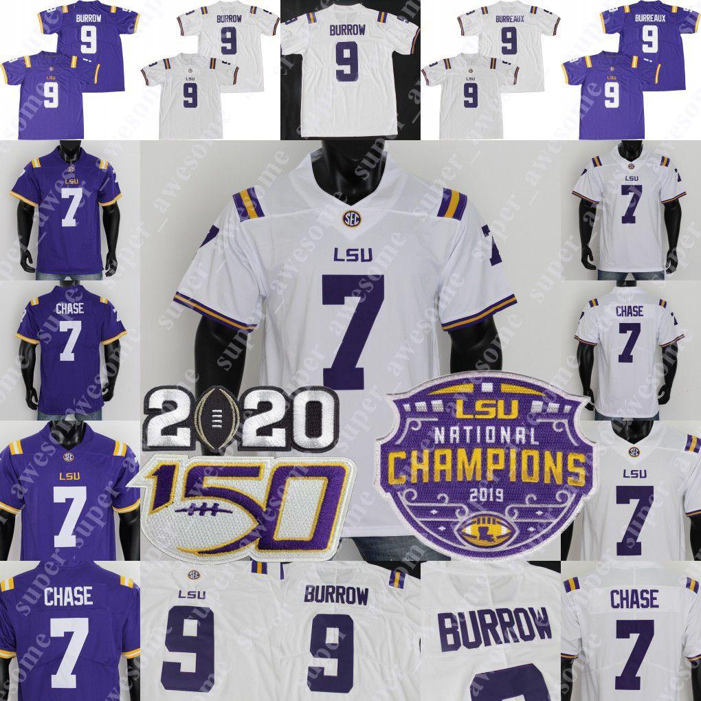 2019 Champions Patch 2020 Lsu Tigers Burreaux College Football Jersey Joe Burrow 7 Derek Stingley Jr. Ja'marr Chase Grant Delpit Tyrann Mathieu Fournette 0 Coach O