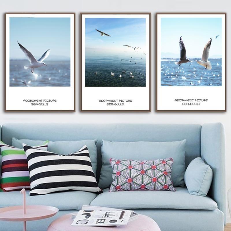 Pinturas Nordic A4 Imprime Moda Poster Oceano Seagull Bando Céu Paisagem Pintura Moderna Canvas Wall Art Fotos para a Decoração da Sala de Living