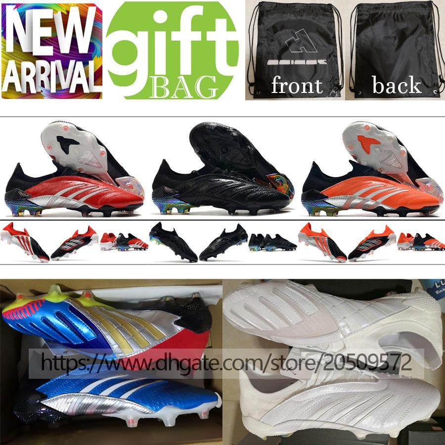أعلى جودة أحذية كرة القدم رجل المفترس أرشيف محدودة طبعة fg منخفضة المرابط في الهواء الطلق المسامير لينة الجلود أحذية كرة القدم الأزرق أبيض أسود أورانج بوتاس دي فو