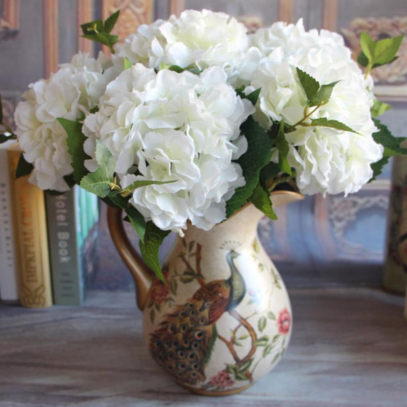 Dekorative Blumen Kränze 46 cm künstliche hortensie blume echte touch seide gefälschte zweig für hochzeit weihnachten party hause garten dekoration