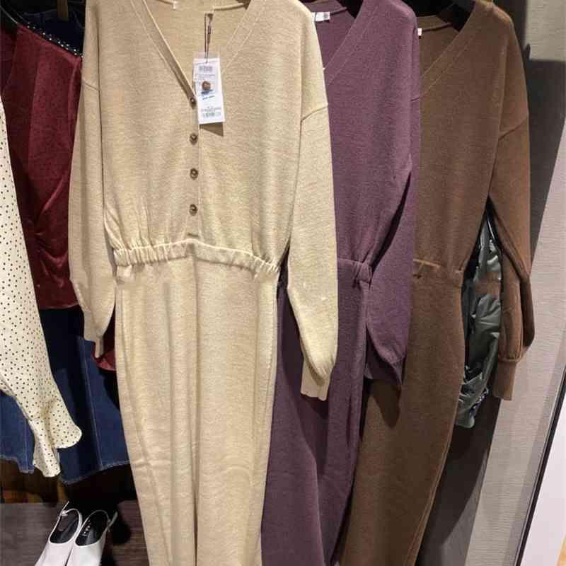 Estilo japão doce decote em v decote chique vestidos mulheres outono inverno lanterna manga vestidos cintura fina vestido de malha 210430
