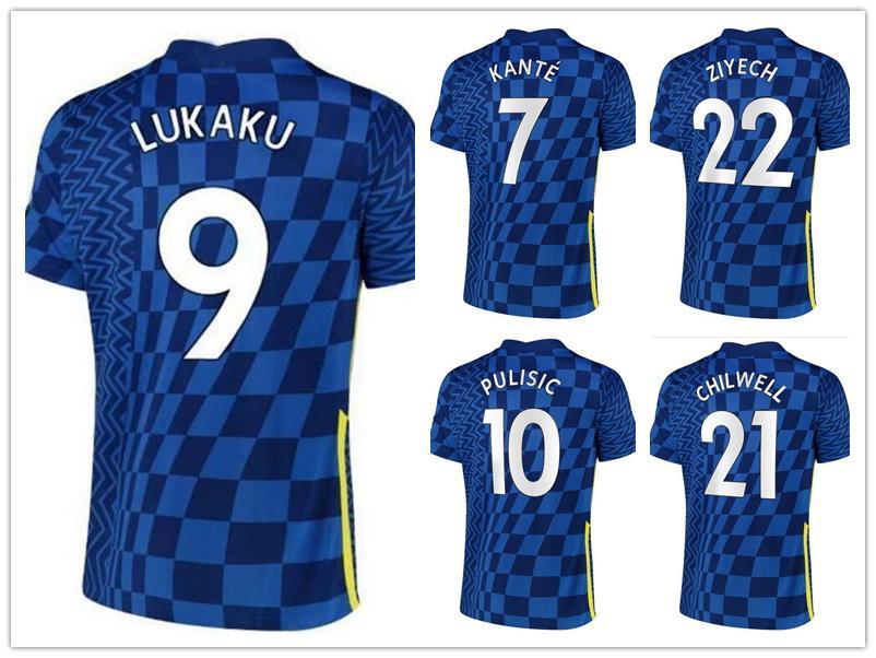 9 Lukaku 29 Havertz 10 Pulisic 22 ZiYech 19 Mount 11 Werner Thai Quality Soccer Jersey Partihandel 20-21 Away Hem Skräddarsy Jersey