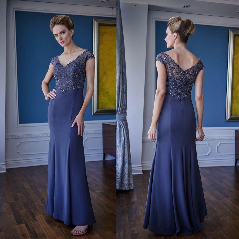 Mantel-Mutter der Brautkleider V-Ausschnitt verschlossene Perlen-Chiffon-Prom-Kleid bodenlangen Mütter Kleider